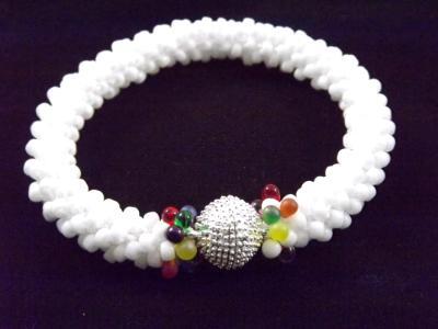 B-77 white crocheted rope bracelet