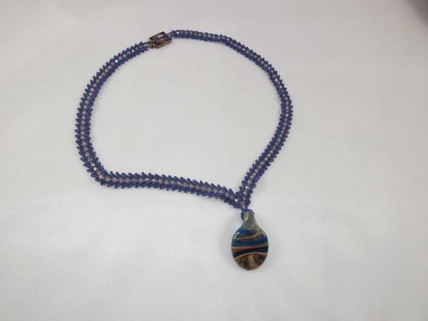 N-68 Slate Blue St. Petersberg Chain Necklace with Lampwork Pendant