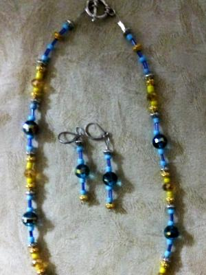 Blue and Yellow with gold set