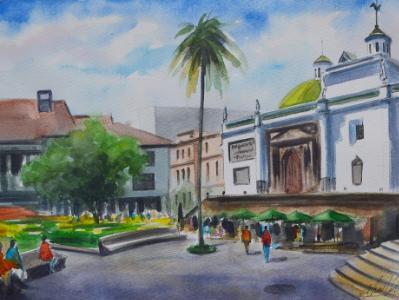 Plein air watercolor view of Quito, 35cm x 50cm, 2018