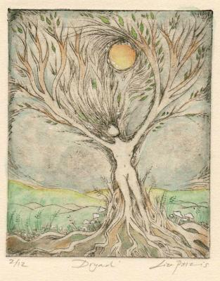 Dryad limited edition etching handcolored drypoint etching print of a tree goddess