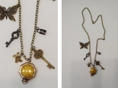 Gold watch and charms necklace