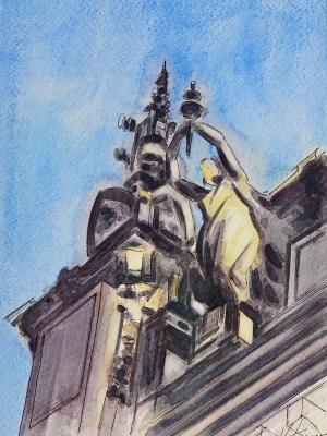 Plein air watercolor painting of a sculptural element, 25cm x 35cm, 2018