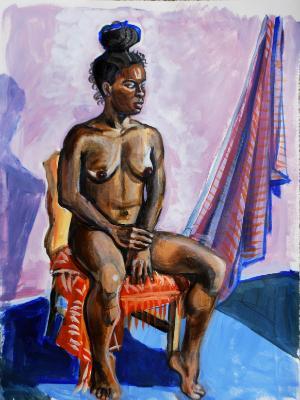 Inky, Seated Nude