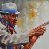 Portrait of a street musician, 38cm x 56cm, 2019