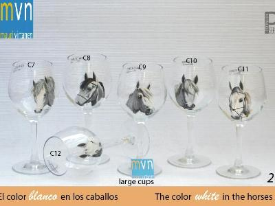 Set of handpainted glasses: WHITE HORSES