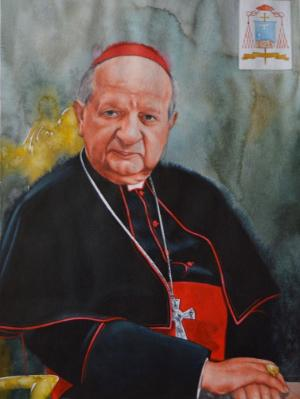 Watercolor portrait of the Polish Cardinal STANISLAW DZIWISZ, 80cm X 60cm, 2016