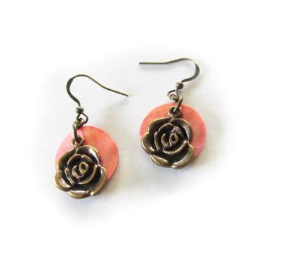 Pink shell brass rose earrings