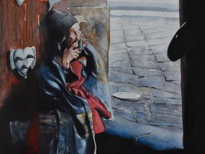 Watching life go by..., 38cm x 56cm, 2021