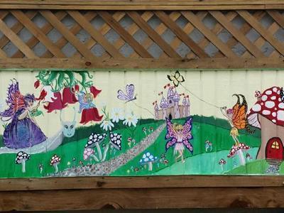 Fairy fence mural