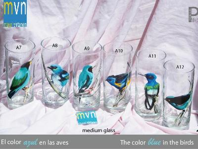 Set of handpainted glasses: BLUE BIRDS