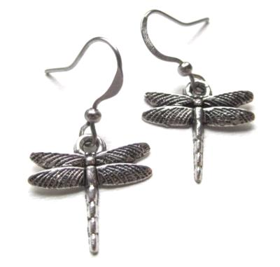 Small dragonfly earrings silver toned nickel free delicate dragonflies charm jewelry