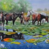 The Danube Delta horses, 38cm x 56cm, 2021