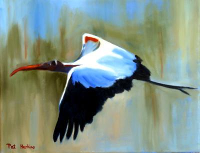 Woodstork in Flight
