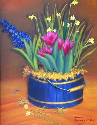 Bulbs in Blue Bucket