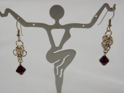 E-87 Sterling Chain & Crystal Earrings