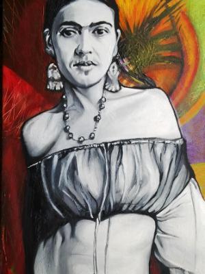 """Frida, 21st Century Celeb?"" Painting 1 of Fun Frida Commissions"