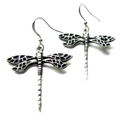 Dragonfly art nouveau earrings pewter wing art deco earrings