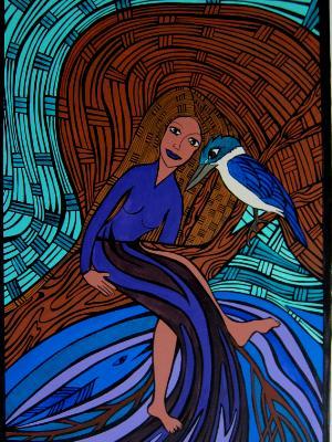 Kingfisher & Lady in Tree