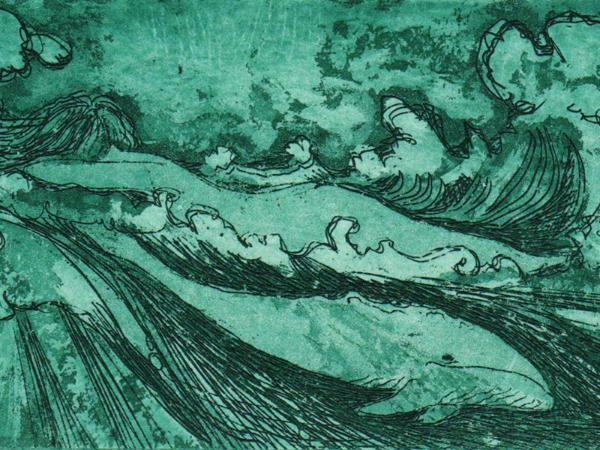 Ocean woman and whale etching limited edition whale art