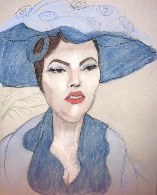 Woman in a Blue Hat