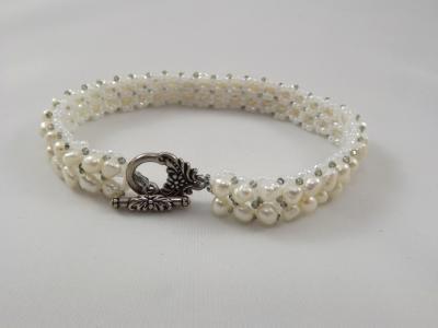 B-16 white freshwater pearl chevron bracelet