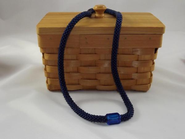 N-33 Midnight Blue Crocheted Rope Necklace with Glass Focal Bead