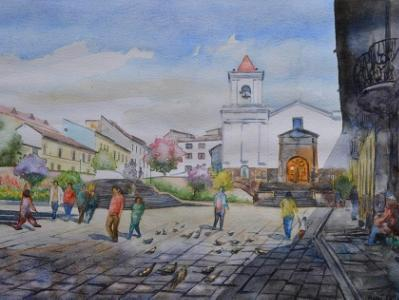 San Blas square and church, 35cm x 50cm, 2015