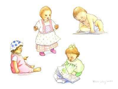 Four babies - illustration