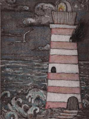 Lighthouse Keeper illustration whimsical lighthouse etching hand colored with poem