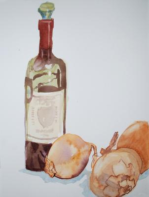 Wine Bottle and Onions