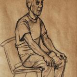 Bob, Seated (Charcoal on Kraft Paper)