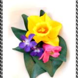 Daffodil, Violets and Azaleas Posy Pin or Hair Clip