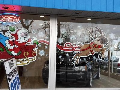 Santa sleigh with flying deer