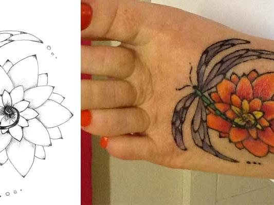 Dragonfly and lotus flower design