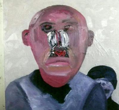 """""""Monkey Man"""" Oil/canvas 24x24"""" 2012"""