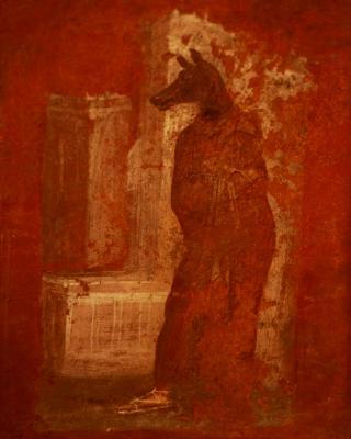 Roman Nobel man dressed as Anubis