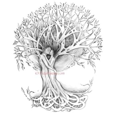 Tree of Love art print tree drawing with celtic knotwork roots