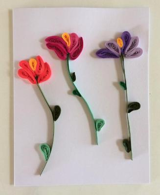Tulips quilled greeting card