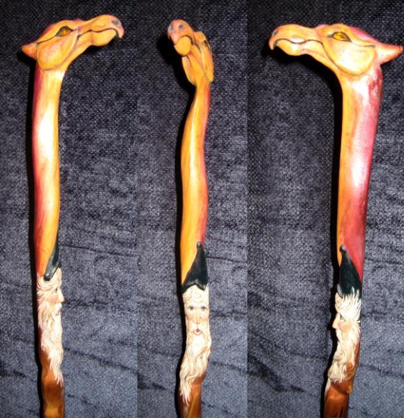 Dragon Wizard Walking Stick Roni Art Wood Sculpture