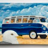 BUS FULL OF DOGS MEETS MR. SEAGULL