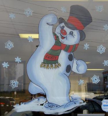 Door snowman waving