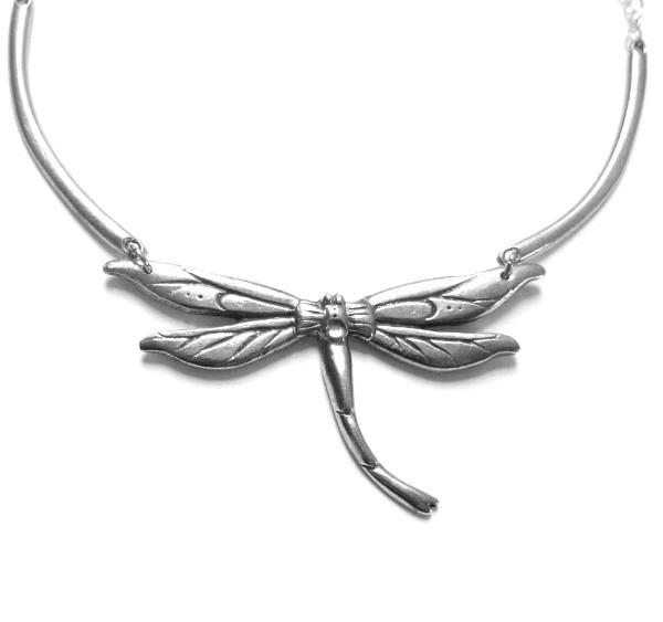 Art Nouveau Dragonfly necklace original artisan design pewter dragonfly  choker