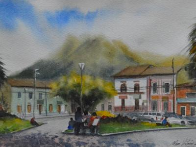 Plein air watercolor painting in the city of San Pablo-ECUADOR, 38cm x 28cm, 2019