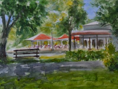 Plein air watercolor painting im Alei park, Giurgiu-ROMANIA, 28cm x 38cm, 2018 (workshop)