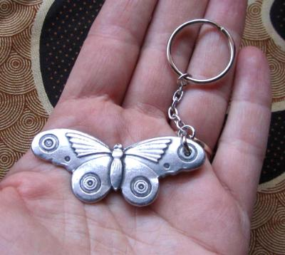 Butterfly Moth pewter keyring butterfly keychain from an original design by Liza Paizis