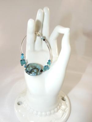 B-114 turquoise & brown Kazuri bead bracelet