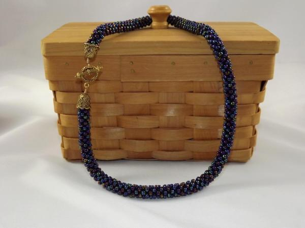 N-34 Oilslick Blue Crocheted Rope Necklace