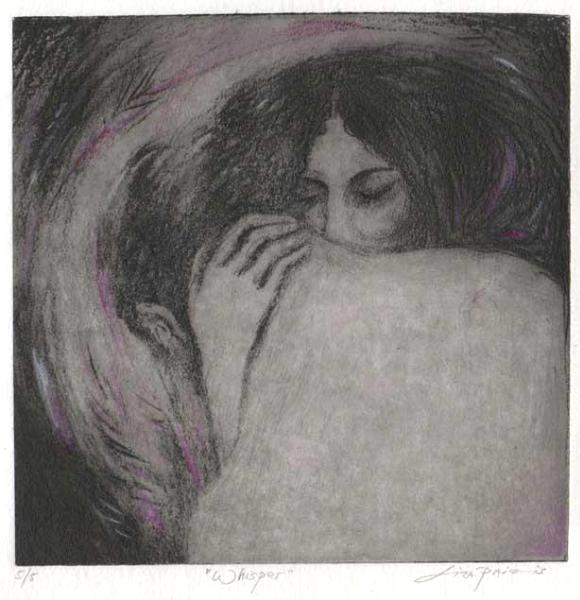 Whisper Romantic Etching of Lovers : Solar Plate and handcolored, Limited Edition