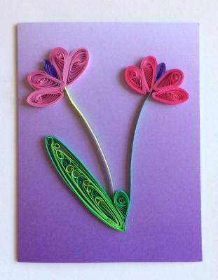 The Pastel Series Purple Handmade Quilling Greeting Card
